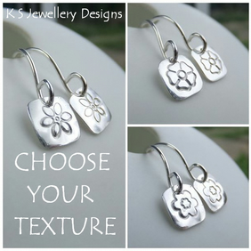 Stamped Flower Square Sterling Silver Earrings - Six Petals, Pansy or Blossom