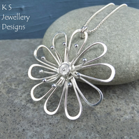 RESERVED Big Daisy with Stamens - Sterling Silver Wire Flower Pendant Metalwork
