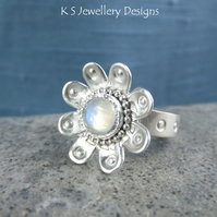 Rainbow Moonstone Sterling & Fine Silver Daisy Ring - Gemstone Flower Metalwork