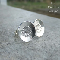 Stamped Sunflowers - Sterling Silver Stud Earrings - Flower Textured