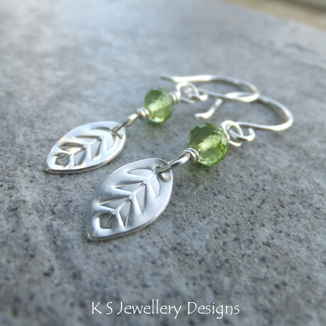 Peridot Sterling Silver Leaf Drop Earrings - Spring Leaves - Gemstone Metalwork