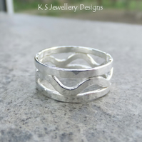 Dappled Waves Fine Silver Ring - Wavy Wide Band - Handmade Textured Metalwork