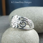 Flower and Leaves Sterling Silver Ring - Handmade Metalwork Wirework - Wide Band