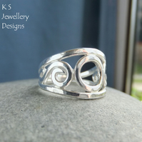 Circle and Swirls Fine Silver Ring - Handmade Metalwork Wirework - Wide Band