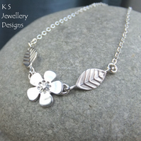 Cherry Blossom - Flower and Leaves Sterling Silver Necklace - Handmade Metalwork