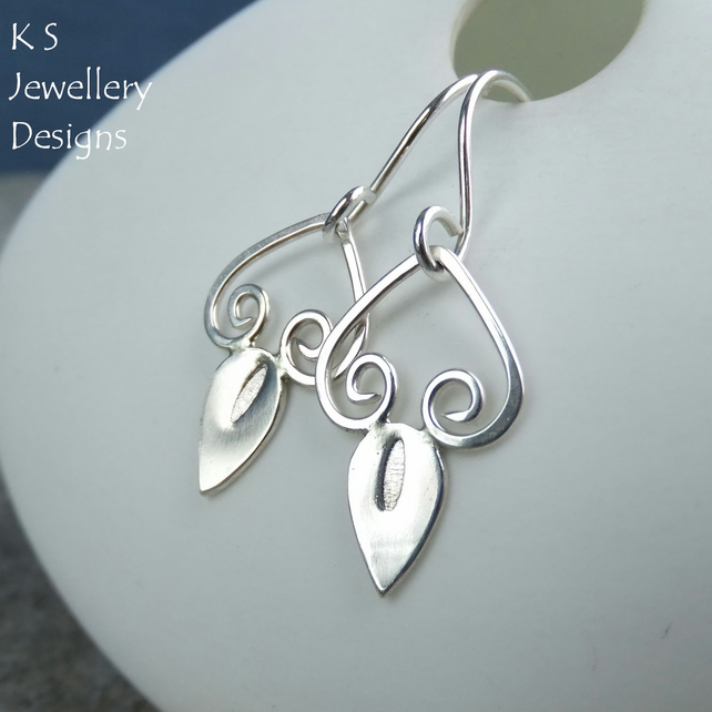 Swirl Drops - Sterling Silver Earrings - Metalwork Shiny Swirls and Teardrops