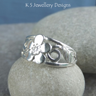 Cherry Blossom - Flower and Leaves Sterling Silver Ring - Metalwork Wirework