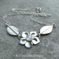 Rainbow Moonstone Flower and Leaves Sterling Silver Necklace - Gemstone Handmade