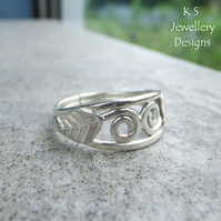 Leaves and Swirls Sterling Silver Ring - Handmade Metalwork Wirework - Wide Band