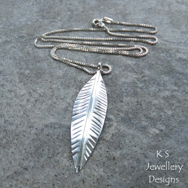 Sterling Silver Long Leaf Pendant - Handmade Hand Stamped Textured Metalwork
