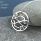 Little Fishes - Sterling Silver Swirl Circle Pendant - Pisces Zodiac Necklace