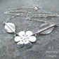 Six Petal Flower and Leaves Sterling Silver Necklace - Handmade Metalwork