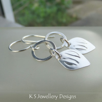 Stamped Drops & Circles Sterling Silver Earrings - Metalwork Jewellery