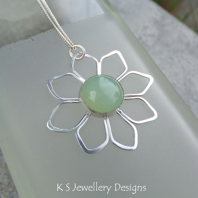 Amazonite Sunflower - Sterling Silver Flower Pendant - Gemstone Metalwork
