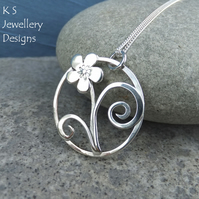 Sterling Silver Circle Pendant - Five Petal Flower & Swirl - Cherry Blossom