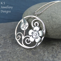 Flower and Bud Sterling Silver Circle Pendant - Cherry Blossom
