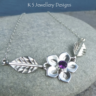 Amethyst Flower and Leaves Sterling Silver Necklace - Sparkling Gemstone