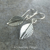 Sterling Silver Dangly Leaf Earrings - Handmade Handstamped Metalwork Leaves