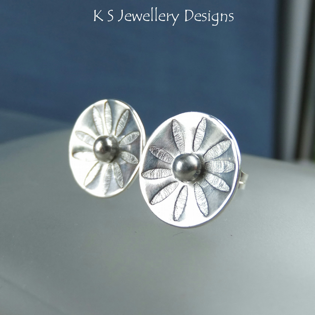 Sterling Silver Stud Earrings - Daisy Flower Discs - Textured Metalwork