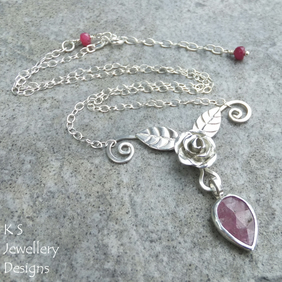 Pink Sapphire Rose, Leaves and Petal Sterling Silver Necklace - Gemstone Flower