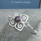 Amethyst Flower Sterling Silver Bangle - Gemstone Bracelet - Metalwork