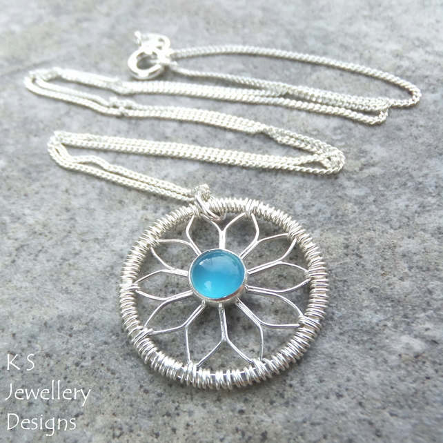 Blue Chalcedony Sterling Silver Coiled Flower Pendant - Metalwork Wirework