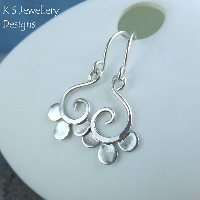 Petal Swirl Drops - Sterling Silver Earrings - Handmade Metalwork Wirework
