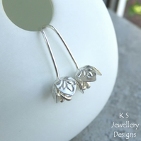 Sterling Silver Stamped Textured Bell Flower Earrings - Metalwork Jewellery