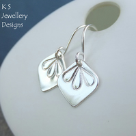 Sterling Silver Petal Trio Earrings (v1) - Metalwork Handstamped Flowers Petals