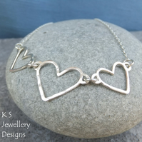 Love Hearts - Sterling Silver Wire Heart Trio Necklace - Metalwork Wirework