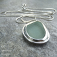 Aqua Blue Sea Glass Sterling Silver Pendant - Handmade Metalwork Jewellery