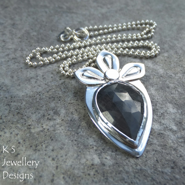 Midnight Blue Sapphire Petal Adorned Sterling Silver Pendant - Natural Gemstone