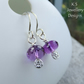 Amethyst Textured Drop Sterling Silver Earrings - Hand Stamped Gemstone
