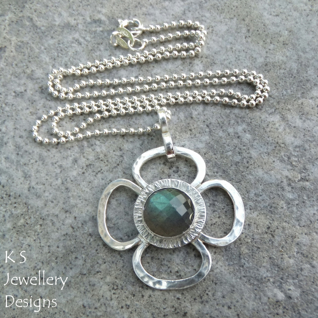 Labradorite Big Flower Sterling & Fine Silver Pendant - Gemstone Metalwork