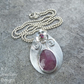 Pink Sapphire and Rhodolite Garnet Flower and Vase Sterling Silver Pendant