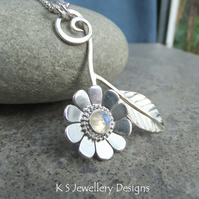 Rainbow Moonstone Daisy and Leaf Sterling Silver Pendant - Gemstone Flower