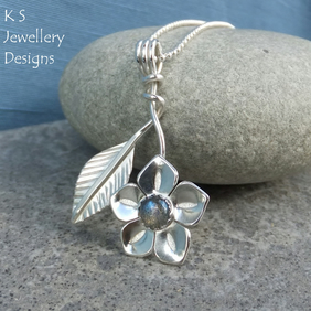 Labradorite Flower and Leaf Sterling Silver Pendant - Gemstone Floral Jewellery