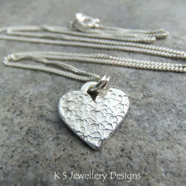 Flower Textured Heart Sterling Silver Pendant - Hand Stamped Flowers Metalwork