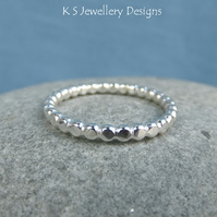 Sterling Silver 2.2mm Beaded Wire Stacking Ring - Handmade Metalwork Stacker