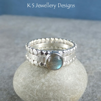 Labradorite Sterling & Fine Silver Stacking Ring Trio - UK size P US size 7.75