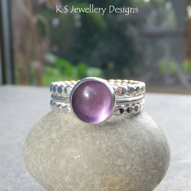 Amethyst Sterling & Fine Silver Stacking Ring Trio - UK size N US size 6.75