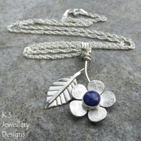 Lapis Lazuli Flower and Leaf Sterling Silver Pendant - Gemstone Floral Jewellery