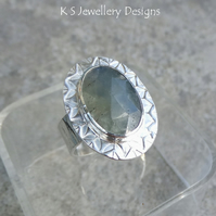 Blue Grey Natural Sapphire Sterling Silver Ring - Adjustable Gemstone Cuff Ring