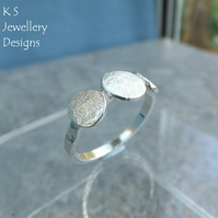 Stepping Stones Sterling Silver Textured Ring - Organic Metalwork Pebble Pebbles