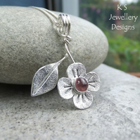 Pink Tourmaline Flower & Leaf Sterling Silver Pendant - Gemstone Floral Necklace