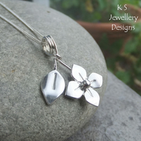 Shiny Flower & Leaf Sterling Silver Pendant - Blossom Floral Garden Necklace