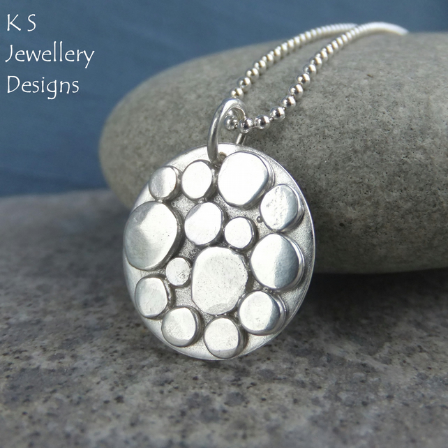 Random Pebbles Circular Sterling Silver Pendant - Organic Pebble Necklace