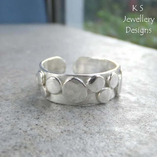 Random Pebbles Sterling Silver Cuff Ring - Organic Pebble Adjustable Ring