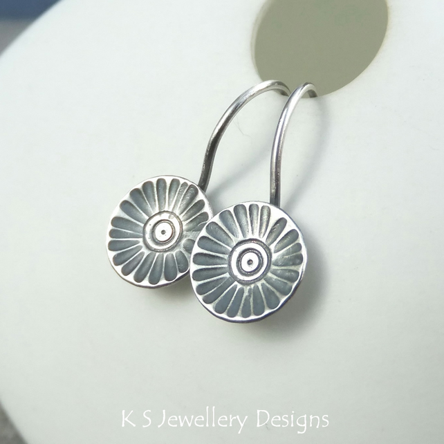Sterling Silver Earrings - Rustic Flower Discs (Daisy) -  Oxidised or Shiny