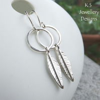 Leaves & Circles Sterling Silver Earrings - Hand Stamped Leaf Jewellery
